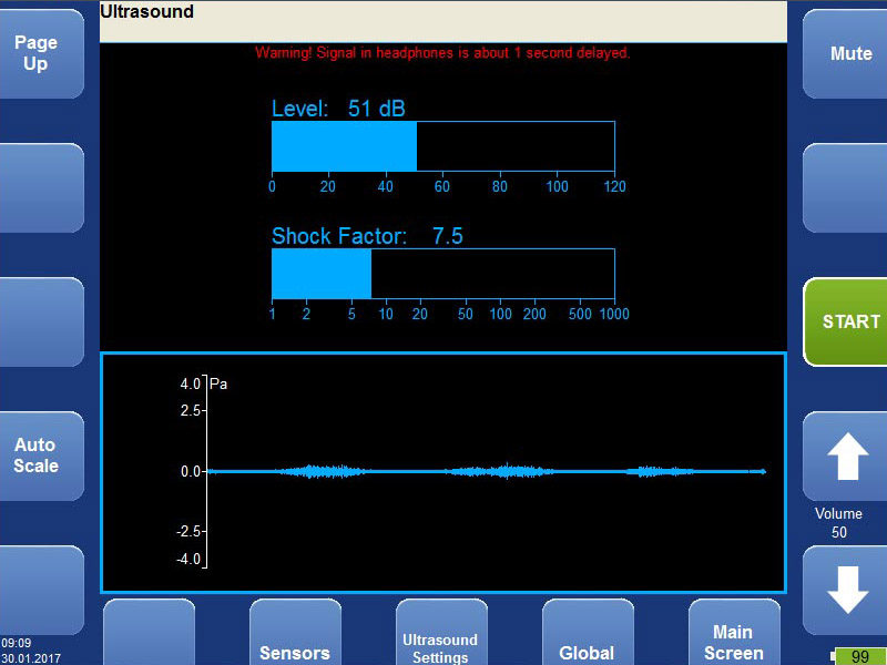 Vibration analyzer - ultrasound mode screen